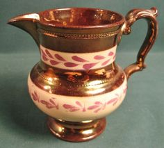 ANTIQUE COPPER LUSTRE CREAMER PITCHER ENGLAND #unknown #unknown Antique Copper, Tea Set, Luster, Bristol, Flow, Porcelain, England, Ceramics, Antiques