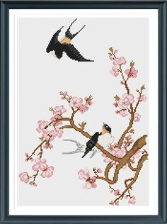 Swallow And Plum Blossom Cross Stitch Pattern, Counted Cross Stitch Pattern, Instant Download, Cross Stitch PDF, Cross Stitch Floswer by AprilBeeShop on Etsy