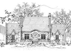 Wherwell Cottage is another fine creation from New South Classics.  Diamond pane windows and brick and stone chimneys
