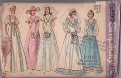 MOMSPatterns Vintage Sewing Patterns - Simplicity 6399 Vintage 70's Sewing Pattern DREAMY Sheer Sleeve RUFFLES GALORE Southern Belle Wedding Gown, Garden Party Dress