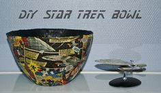 DIY Star Trek decoupage bowl, a simple step by step picture tutorial Star Trek, Decoupage, Stars, Bathroom, Simple, How To Make, Pictures, Diy, Bath Room