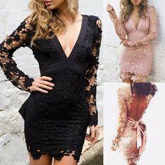 New Lace Crochet Backless V Neck Bodycon Dress