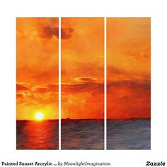 Painted Sunset Arcrylic Wall Art Triptych