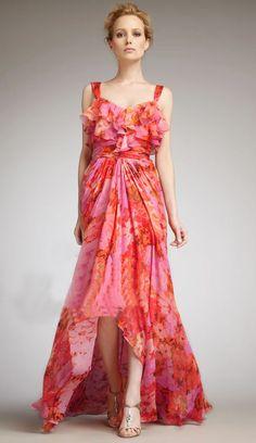 Orange Spaghetti Strap Ruffle Asymmetric Dress - Fashion Clothing, Latest Street Fashion At Abaday.com