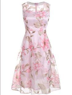 AZULINA Vintage Pink Floral Print Dress Women Retro Sleeveless A Line Midi Organza Dress 2017 Sheer Summer Dress Ladies vestidos Pink Midi Dress, Pink Floral Dress, Dress Up, Floral Dresses, Midi Dresses, Slit Dress, Mesh Dress, Flare Dress, Pretty Outfits