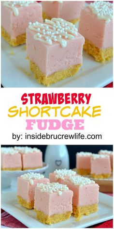 This easy strawberry fudge has a shortbread crust and sprinkles. Perfect for adding to any cookie and candy tray!