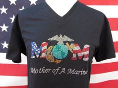 Check out this item in my Etsy shop https://www.etsy.com/listing/197307947/marine-mom-rhinestone-shirt