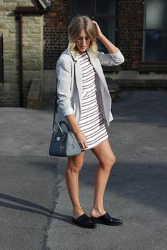 Warehouse Striped Dress, blazer for formal wear with Whistles Milla Mules