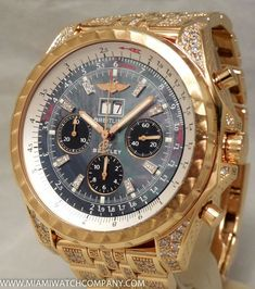 Men's Breitling for Bentley Chronograph Watch Gold Factory Dia . Vintage Watches For Men, Luxury Watches For Men, Stylish Watches, Cool Watches, Gold Factory, Mens Designer Watches, Sterling Silver Mens Rings, Breitling Watches, Gold Chains For Men