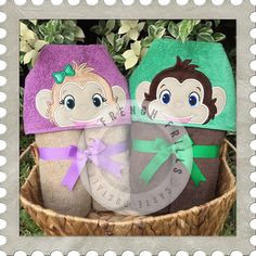 Monkeys hooded towel embroidery designs. Applique embroidery project idea.