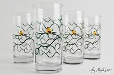 Summer Finch Glasses for Everyday Use. By Mary Elizabeth Arts. Super durable in the dishwasher!