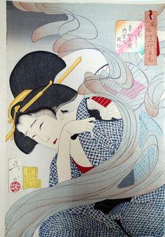 Looking Disagreeable - The Appearance of a Young Lady from Nagoya During the Ansei era by Tsukioka Yoshitoshi. Ukiyo-e. Japanese Drawing, Japanese Woodcut, Japanese Painting, Art Japonais, Japanese Prints, Japanese Design, Japan Art, Gravure, Woodblock Print