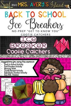 """Looking for back to school ideas to keep your students engaged during the first week of school?  These no-prep printables are a perfect """"get to know you"""" resource to add to your back to school activities!  Click here to take a look at the preview and discover the ease of incorporating these cootie catchers into your lesson plans during the first few days of school!"""
