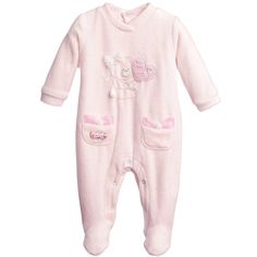 Baby Girls Pink Spotty Velour Babygrow, iDo, Girl