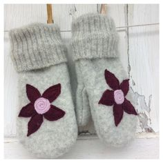 Upcycled Felted Wool Mittens- Garden Blooms in Plum