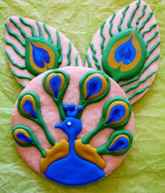 peacock cookies. Not a recipe, just a decoration idea.