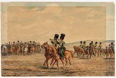 Batterij van het Korps Rijdende Artillerie voorafgegaan door twee trompetters, paraderen in volle galop voorbij militaire autoriteiten bij het Kamp te Millingen.