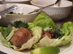 Thai Style Turkey Meatball Lettuce Wraps | More Savory, Less Sweet