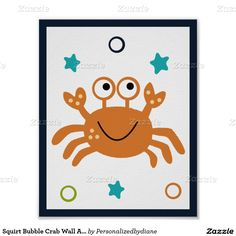 Squirt Bubble Crab Wall Art Poster/Print 8x10 Poster