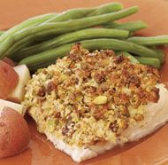 Pistachio-Crusted Cod Fillets. I subbed almonds instead of pistachios, & used panko instead of breadcrumbs. Delicious!
