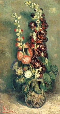 Vincent van Gogh: The Paintings (Vase with Hollyhocks). oil on canvas. 91 x 50.5 cm. Paris. 1886.
