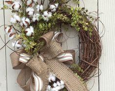 Cotton Wreath Cotton Boll Wreath Spring by AdorabellaWreaths
