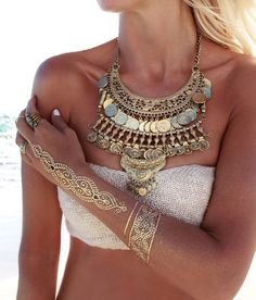 Flash Tattoo And Statement Necklace Beach Style
