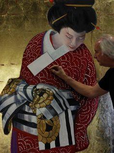 Louis Nagelkerke - Geisha 150 x 120 cm. Olieverf met bladgoud. Excellent Art Utrecht