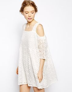 Enlarge Little White Lies Off Shoulder Smock Dress In Daisy Lace