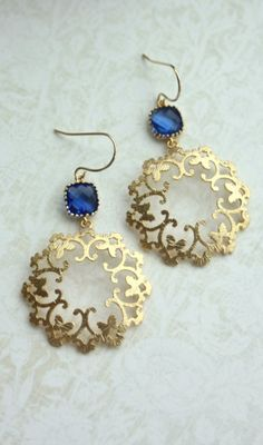 Cobalt Blue Glass, Moroccan, Boho Filigree, Ornate Chandelier Earrings. Maid of Honor. Bridesmaids Gifts. Blue and Gold Wedding. Something Blue by Marolsha.