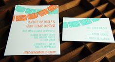 Papel Picado -  Letterpress Wedding Invitation Sample. $5.00, via Etsy.