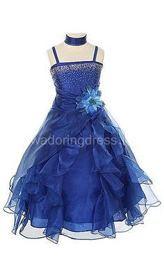 Sleeveless A-line Organza Dress With Ruffles and Flower