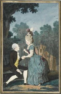 """M. le Comte de La Porte et Mlle. his daughter"" by Louis Caroggis Carmontelle (1780s)"