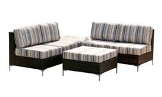 angelo:HOME Napa 4-Piece Outdoor Furniture Set, Gray Stripe by angelo:HOME. $1212.11. Includes a loveseat, chaise and ottoman/table is interchangeable, remove the cushion to use as a table. Designed by angelo surmelis. In stock items ship in 1-2 business days. 100% polyester. Outdoor performance fabric is flame proof and water resistant to prevent mildew, rust resistant frame. 6-inch thick seat cushions covered in in tan, white, gray, black and olive; all weather top tab... Ottoman Table, Patio Furniture Sets, Grey Stripes, Seat Cushions, Love Seat, Indoor, Outdoor Decor, Projects, Design