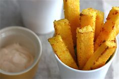 Baked Polenta Fries (with Spicy Lime Mayo) / mmmm... spicy lime mayo...
