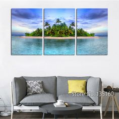 Painting & Calligraphy Information about 3 Panels Modern Home Decor Seascape Oil Painting On Canvas Printed Island Trees Wall Pictures For Living Room