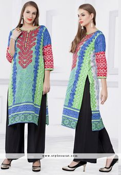 Gradient Green Printed Party Wear Kurti