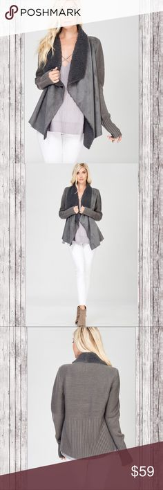 Sleek Long Sleeve Draped Open Sweater & Suede! Gorgeous charcoal/gray cardigan sweater with faux fur, suede and sweater in back and on sleeves. Sweaters Cardigans
