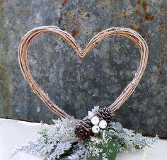 Cake: Rustic Winter Wedding Cake Topper - Wooden heart