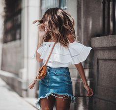 Ripped jean skirt.