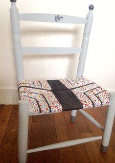 Chaise enfant paillage tissu L'atelier fasiladecore