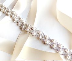 Crystal Pearl Weave Bridal Belt Sash White Ivory by GetNoticed