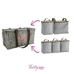 Keep things cool and organized with thirty one! Double and single thermal organizers fit in the large utility tote.