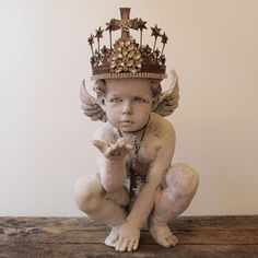 Cherub statue painted white distressed French shabby cottage angel figure with ornate crown home decor anita spero design