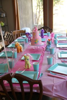 My Little Pony party table: this is before we added the pink milk and pink lemonade.