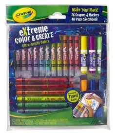 Crayola Extreme Color 'N Create Set by Crayola. $11.93. Fun bright colors. 40 Page Sketchbook. Non-toxic safe. Extreme boost of color. On-the-go packaging includes all of the colors you need for hours of creative fun. From the Manufacturer                Crayola Extreme Color 'N Create Set is ultra-bright markers that gives any project an extreme boost of color.                                    Product Description                Crayola Extreme Color 'N Create Set