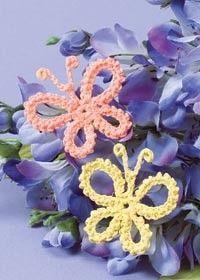 Farfalle Crochet, modello gratuito. Applique@Juxtapost.com