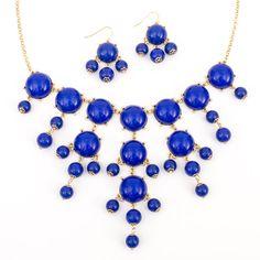 Bubble Necklace and Earring Set Cobalt Blue - $14.90