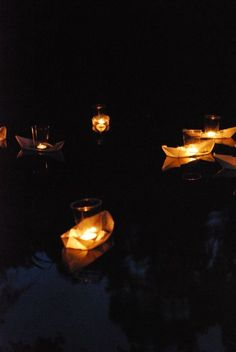 floating origami candle boats!