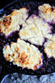 Blueberry Cobbler Recipe | Oh this is so good! Whether cooked over a camp fire or in the kitchen, this is the BEST cobbler! Love!©addapinch.com